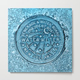 New Orleans Water Meter Louisiana Crescent City NOLA Water Board Metalwork Blue Metal Print