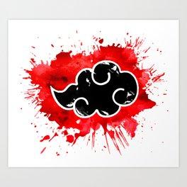 black cloud akatsuki watercolor Art Print