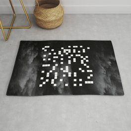 The Digital Void - Black and white abstract art Rug