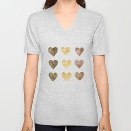 Gold and Chocolate Brown Hearts Unisex V-Neck