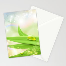pastel colors with green grass and dew Stationery Cards