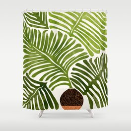 Summer Fern / Simple Modern Watercolor Shower Curtain