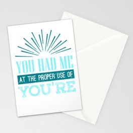 English Teacher Grammar Geek You Had Me at Proper Use of You're Stationery Cards