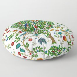 William Morris Tree of Life Pattern, Green & Multi Floor Pillow