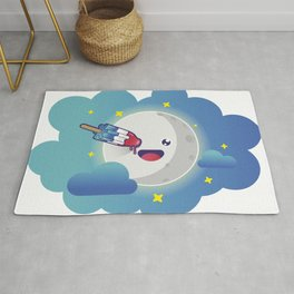 Moon in the clouds with a popsicle Rug