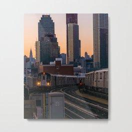 New York City Subway, Long Island City, Queens Metal Print