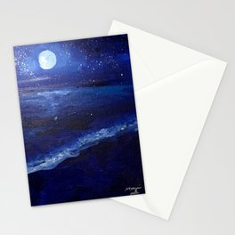 Moonlight by the Shore Stationery Cards
