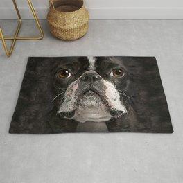 Mens Womens Cute Boston Terrier Face 3D Gift - Lover Boston Terrier Dog  Rug