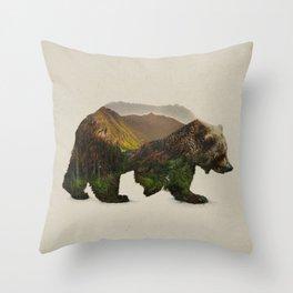 North American Brown Bear Throw Pillow