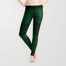 Dark Green Tartan with Black and Red Stripes Leggings