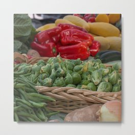 Brussel Sprouts and other Fresh Veggies Metal Print