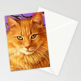 longhaired orange tabby cat Stationery Cards