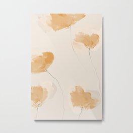 Soft Tangerine Floral Metal Print