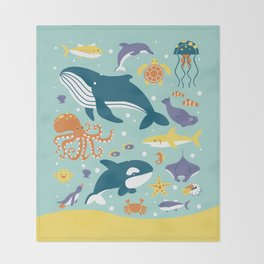 Sea Animals Throw Blanket
