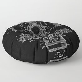 Vintage Camera Patent Black Blueprint Floor Pillow