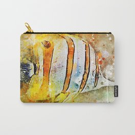 Yellow butterfly fish painted in bursting watercolor! Carry-All Pouch