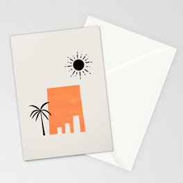 Minimalist Minimal Mid Century Abstract Middle Eastern Ancient Ruins Palm Tree Sun Ejaaz Haniff Stationery Cards