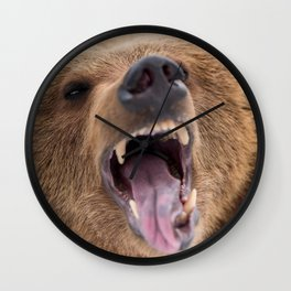 Majestic Scary Giant Grown Grizzly Bear Roaring Open Jaws Close Up Ultra HD Wall Clock