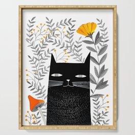 black cat with botanical illustration Serving Tray