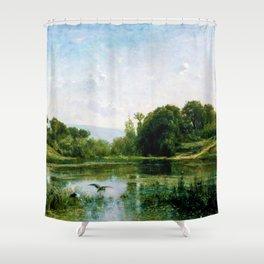12,000pixel-500dpi - Charles-Francois Daubigny - The Ponds Of Gylieu - Digital Remastered Edition Shower Curtain