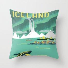 Vintage Mid Century Modern Iceland Scandinavian Travel Poster Ocean Whale Winter Village Deko-Kissen