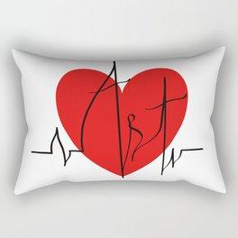 Art lovers illustration/ Hand drawn lettering, Artist's heartbeat monitor Rectangular Pillow