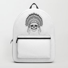 Skull in indian headwear with feather in monochrome style. Art print Backpack