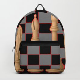 IVORY CHESS SET & ABSTRACT BLACK- GREY BOARD Backpack