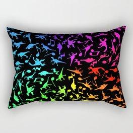 Dinosaurs Rock Music Rainbow Rectangular Pillow