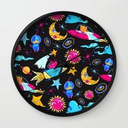 Orbital - Pink | Blue | Yellow Wall Clock