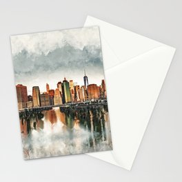 New York City Manhattan Skyline- mixed media Stationery Cards