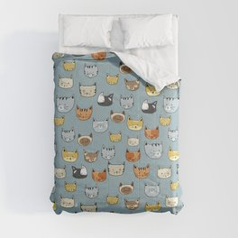 Cat Face Doodle Pattern Comforters