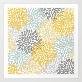 Floral Pattern, Yellow, Pale, Aqua, Blue and Gray Kunstdrucke
