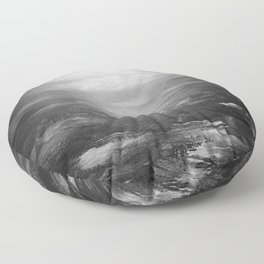 sunset on the aquia river in black and white Floor Pillow