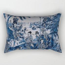17th Century Delftware Chinoiserie Rectangular Pillow