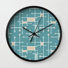 Intersecting Lines in Teal, Tan and Sea Foam Wall Clock