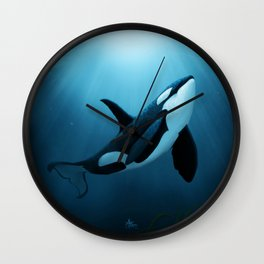 """""""The Dreamer"""" by Amber Marine ~ Orca / Killer Whale Art, (Copyright 2015) Wall Clock"""
