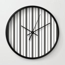 Pantone Pewter Gray & White Wide & Narrow Vertical Lines Stripe Pattern Wall Clock