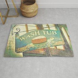 Vintage Laundromat Sign // Wash Tub Rug