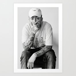 Mac Miller Posters Prints Canvas, Rapper Singer, Music Poster, Wall Art Print, Hip Hop Poster, Star Singer, Black White Poster, Gift Idea Art Print