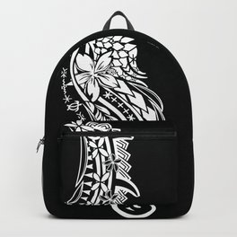Black And White Polynesian Tribal Pattern Backpack
