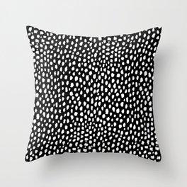 Handmade polka dot brush strokes (black and white reverse dalmatian) Throw Pillow