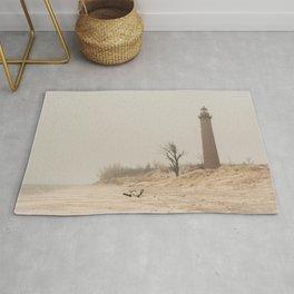 Little Sable Point Lighthouse Lake Michigan Fog Sand Winter Rug