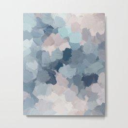 Mint Aqua Navy Indigo Blue Blush Pink Abstract Nature Ocean Painting Art Print Wall Decor  Metal Print