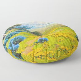 A Spring Morning, Poppies and California Bush Lupine by John Marshall Gamble Floor Pillow