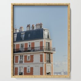 Pretty architecture in Paris, France | Parisian facade and balcony, streets | Montmartre area | Art Deco style | Travel photography  Serving Tray