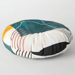 mid century shapes abstract painting Floor Pillow