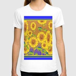 BLUE RUSTIC SUNFLOWERS FIELD ART T-shirt