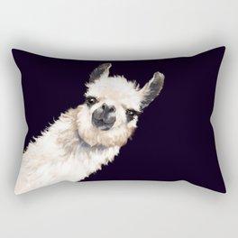 Sneaky Llama in Black Rectangular Pillow