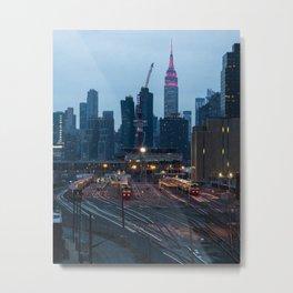 New York City Train Yard and Skyline Metal Print